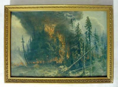 American Color Type Forest Fire antique Victorian Era Print w/Glitter