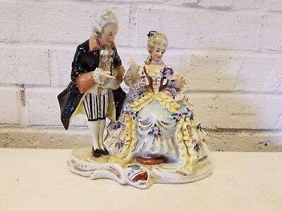 Vintage Possibly Antique German Porcelain Courting Scene of Man & Woman Figurine