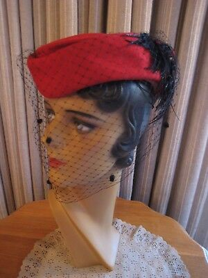 Holidays 40 Red Felt Tilt Hat W/back Black Feathers, Red Bow And Veil