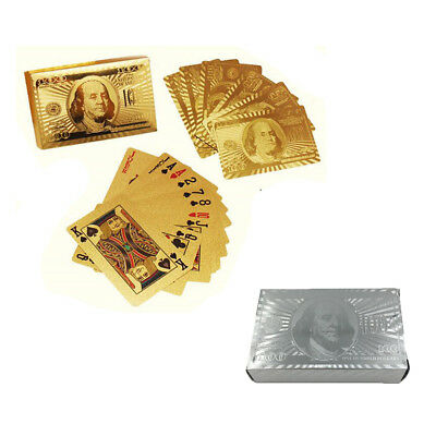 999.9% Genuine $100 Gold & Silver Poker Playing Cards Deck Regular EA
