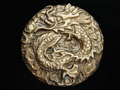 OC27146 *NOS* VINTAGE 1970s **CHINESE DRAGON** FANTASY ART SOLID BRASS BUCKLE