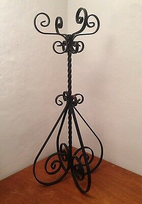 """Antique/Vintage Wrought Iron Metal Jardeneer / Plant Stand 29"""" Tall by 14"""" Wide"""