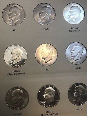 Complete Ike Eisenhower Silver Dollar Collection Set  Bu & Proof 32 Coins