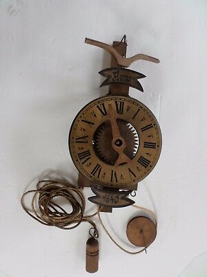 Vintage All Wood Clock And Movement, Unusual
