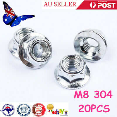 304 Stainless Steel Hex Flange Nuts Metric Threaded Lock Nuts Plain Finish M6/M8