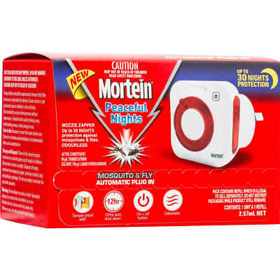 GENUINE Mortein Peaceful Nights Plug In Mozzie Zapper+Refill Free Fast Shipping!