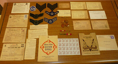 Vintage Lot WW2 War Ration Books Patches Brass Badge Pin WWII Papers Bridgeville
