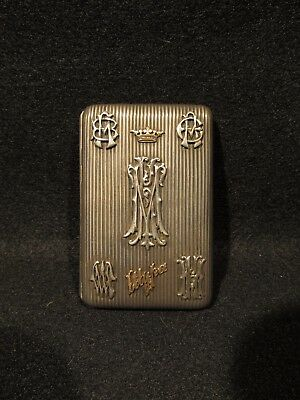 Imperial Russian Silver Cigarette Case With Raised Gold Script and Monograms