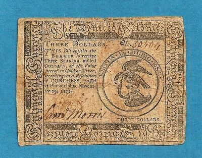 1775 $3 Continental Currency Colonial Note Very Fine Condition Pre-Revolution