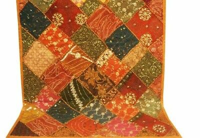"""60"""" Crazy Quilt Beaded Indn Vintage Sari Sequin Moti Wall Décor Hanging Tapestry"""
