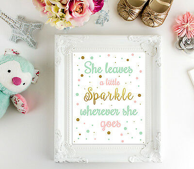 She Leaves A Little Sparkle Wherever She Goes - Wall Art - Nursery - Girls