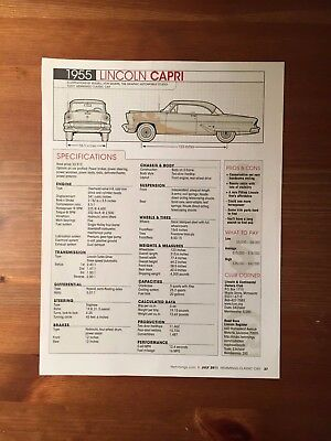1955 LINCOLN CAPRI Specification Sheet