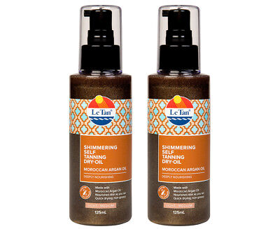 2 x Le Tan Shimmering Self Tanning Argan Oil 125mL - Light/Medium