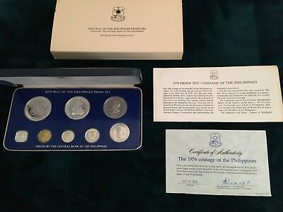 Republic of the Philippines 1976 Proof Set, Original Box Franklin Mint 8 Coins