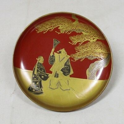 B764: Japanese old lacquerware SAKE cup with traditional beautiful MAKIE 1