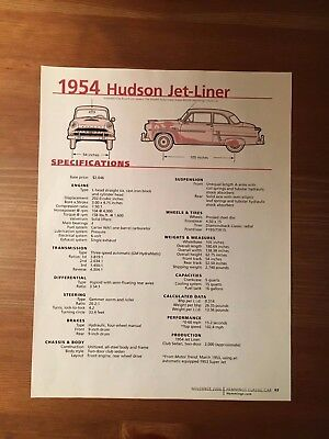 1954 Hudson Jet-Liner Specification Sheet