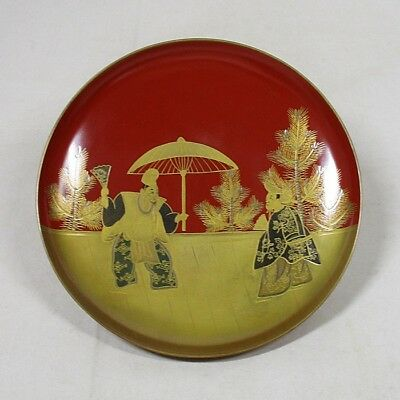 B768: Japanese old lacquerware SAKE cup with traditional beautiful MAKIE 5