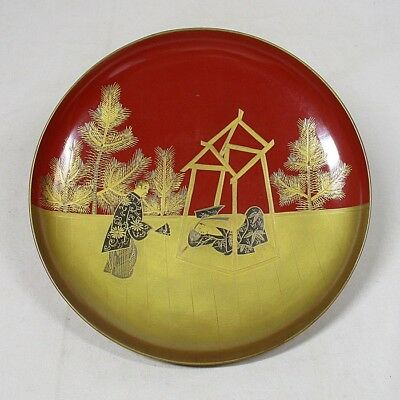 B769: Japanese old lacquerware SAKE cup with traditional beautiful MAKIE 6