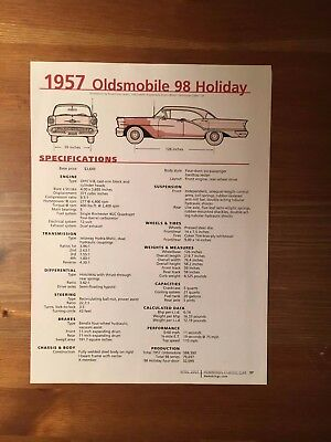 1957 Oldsmobile 98 Holiday Specification Sheet