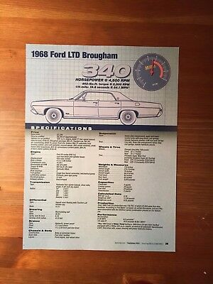1968 Ford LTD Brougham Specification Sheet