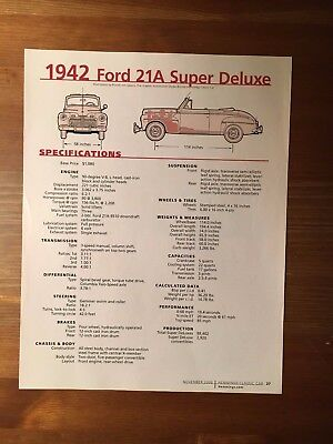 1942 Ford 21A Super Deluxe Specification Sheet