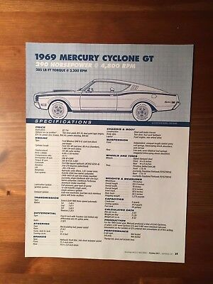 1969 MERCURY CYCLONE GT Specification Sheet