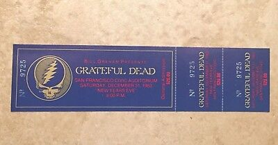 Grateful Dead Full Ticket New Year's Eve 1983 San Franciso Bill Graham Presents