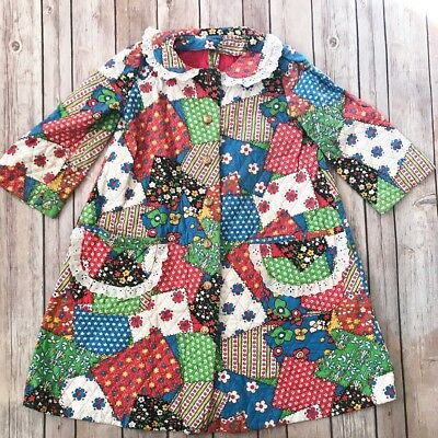Vintage Quilted Patchwork Robe 4 5 6 Pockets Winter House Coat Lace Collar