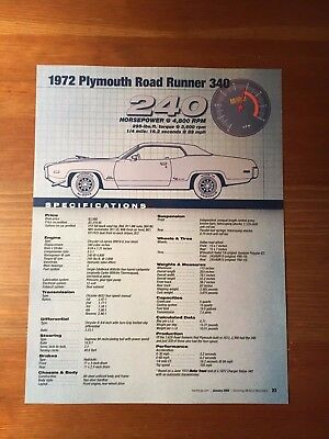 1972 Plymouth Road Runner 340 Specification Sheet
