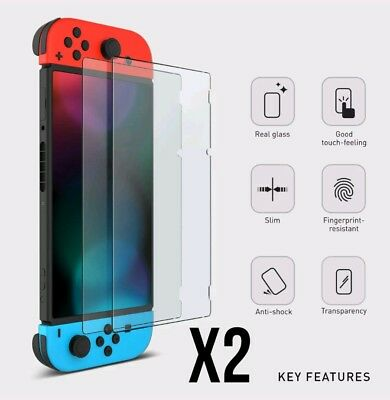 2x Tempered glass Screen Protector Film Guard Sheet for Nintendo Switch Console