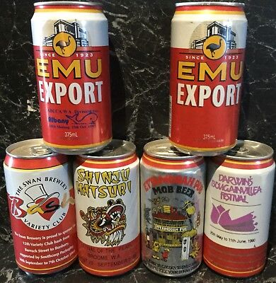 Emu Export 375ml.Commemorative Alloy Beer Cans. x 6 Different Variations.