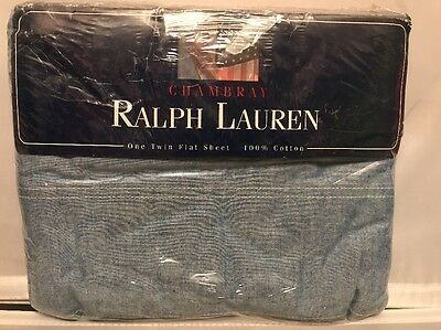 Vintage Unused Ralph Lauren Chambray Blue Flat Twin  Sheet
