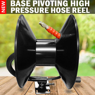 NEW High Pressure Washer Hose Reel  Base Pivoting Black Steel  5000Psi 3/8″ x 50