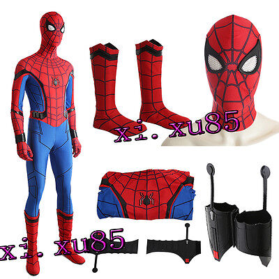 Spiderman Spider-Man:Homecoming Cosplay Costume Jumpsuit Mask Shoes Halloween