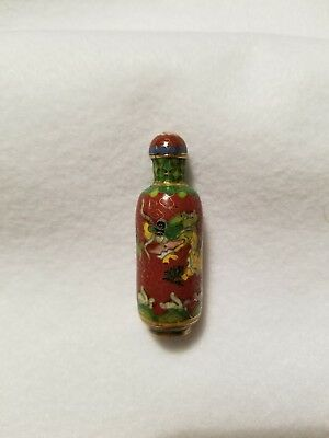 Antique Chinese Qing Period Cloisonne Enameled Dragon Snuff Bottle Ox Blood Red