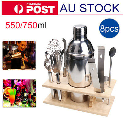 Stainless Cocktail Shaker Set Mixer Martini Spirits Bar Bartender Kit With Rack