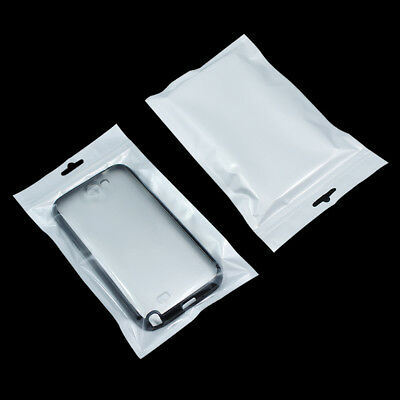 100X Zip Lock Plastic Bags White Jewelry Phone Case Packing Pouch with Hang Hole