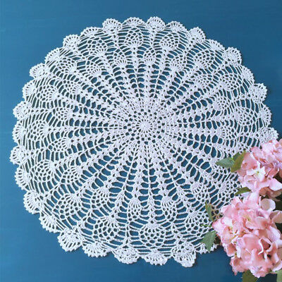 White Hand Crochet Round Table Lace Doily/Topper Pineapple Pattern 19-21inch