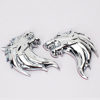 Pair 3D WOLF HEAD Logo 3D Metal Auto Car Emblem Badge Bonnet Sticker Decal