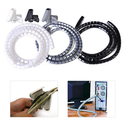 1.5M Flexible Cable Cord Band Wire Wrap Tube Management Organizer with Clip Long