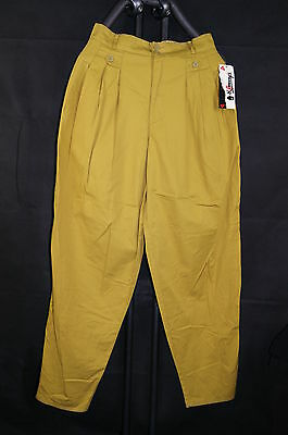 Vintage Damen Bundfalten Hose gelb TIFFANY`s ladies pleatfront pants yellow 42 M