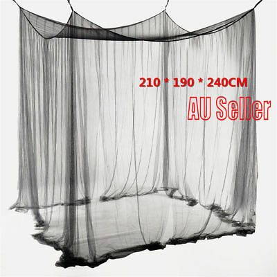 4 Corner Post Bed Canopy Mosquito Net Full Queen King  Netting Black Bedding SN