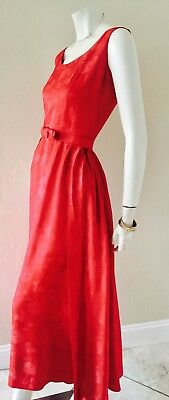 VTG 50''s-60's 2pc Junior House Red Rose Brocade Maxi Gown w/Overskirt Sz S