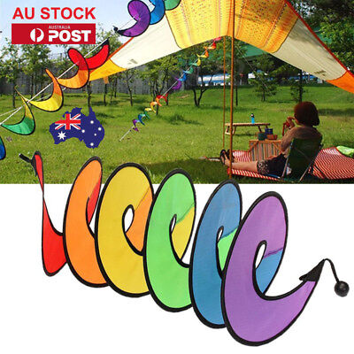 1-10pcs Foldable Rainbow Spiral Windmill Wind Spinner Camping Outdoor Decor AU