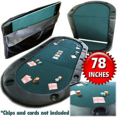 """10 Player Texas Holdem Poker 78"""" Folding Table Top Set Cup Holders Carry Case"""