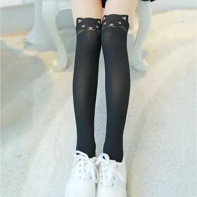 Women Cat Printed Stitching Girl High Stockings Lady Pantyhose Tights Stocking