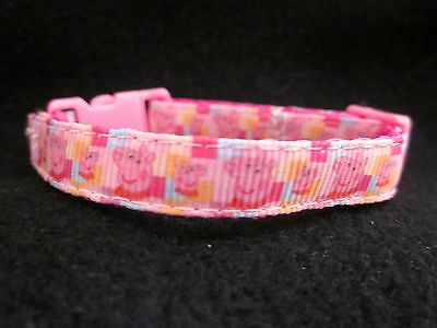Cat Kitten Safety collar Peppa Pig buckle Bell Pink handmade 3 sizes £3.99