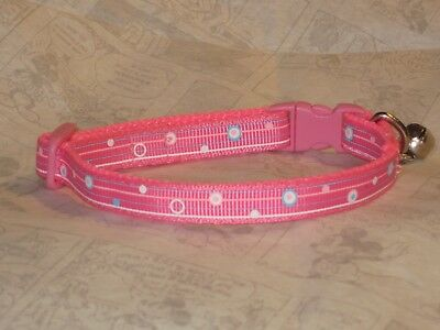Cat collar Kitten ribbon webbing safety curved buckle Pink Bell 3 Sizes £3.99