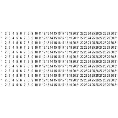 Black Calendar Number Clear Stickers - 12 Months of Numbers on 1 Sheet