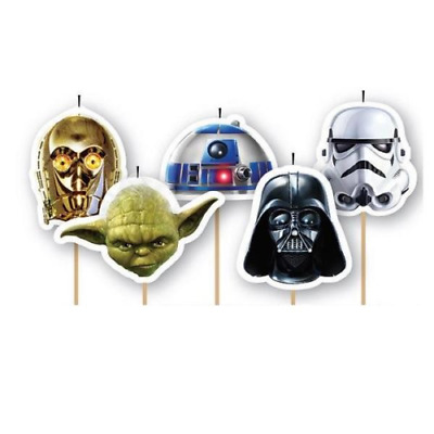 Star Wars Candles Party 5Pk  Yoda Darth Vader Boys Birthday Cake Topper Wrapper